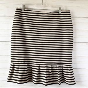 WHBM | Black Beige Striped Pencil Ruffle Skirt